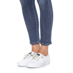 SPERRY Seacoast Leather White Sneakers Size 5.5